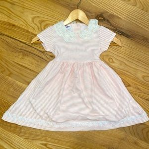 Pink and white stripped toddler girls dress